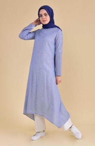Oyya Long Cotton Tunic 9002-06 Blue 9002-06