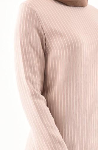 BURUN   Striped Tunic Trousers Double Suit 11179-05 Mink 11179-05