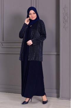 c5037915edef2 فستان سهرة بتفاصيل لامعة 2176-01 لون اسود 2176-01