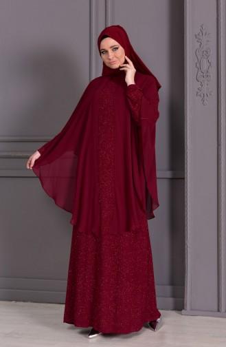 Büyük Beden Simli Abiye Elbise 1054-04 Bordo