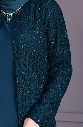 فستان سهرة وبمقاسات كبيرة1062-01 لون اخضر زمردي 1062-01