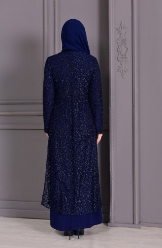 Big Size Suit Evening Dress Navy Blue 1066-02