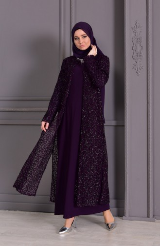 فستان سهرة وبمقاسات كبيرة 1062-04 لون بنفسجي 1062-04