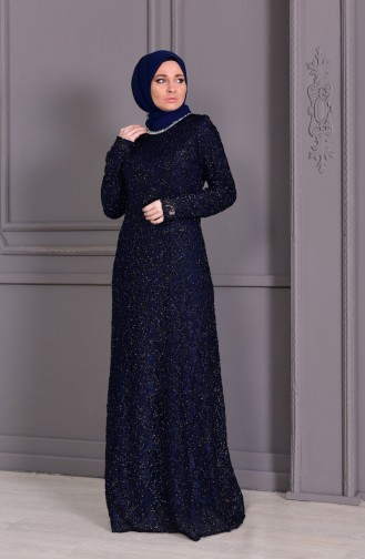 Large Size Lace V-neck Evening Dress 2054-01 Navy Blue 2054-01