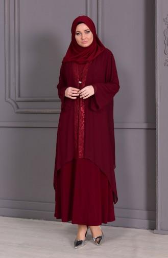 Robe de Soirée Deux Pieces Grande Taille 2412-02 Bordeaux 2412-02