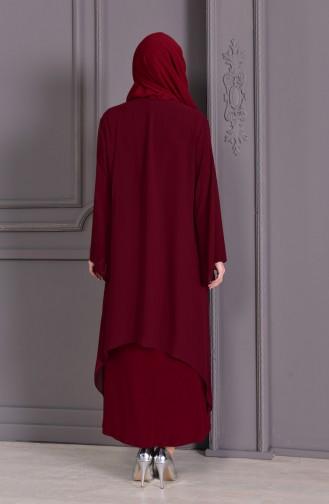 Plus Size Double Dress Evening Dress 2412-02 Bordeaux 2412-02