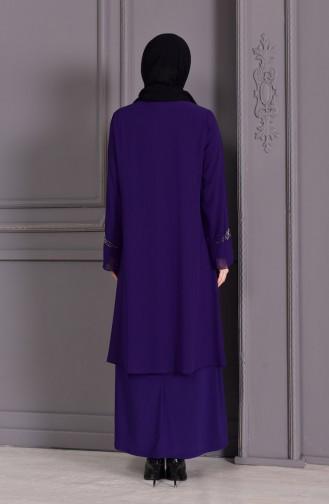 Robe de Soirée Grande Taille 1101-05 Pourpre 1101-05