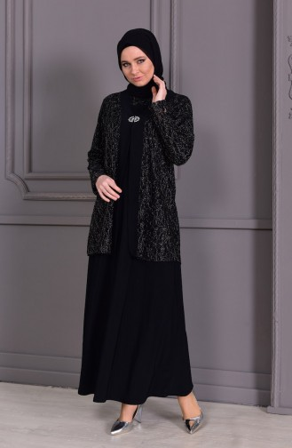 METEX Large Size Brooch Evening Dress 1111-01 Black 1111-01
