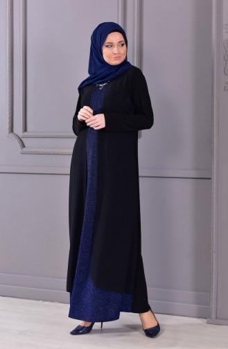 Büyük Beden Kolye Detaylı Simli Abiye Elbise 1116-04 Siyah Lacivert 1116-04