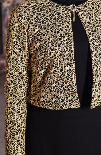 Sequin Jacketed Evening Dress 3707-01 Black 3707-01