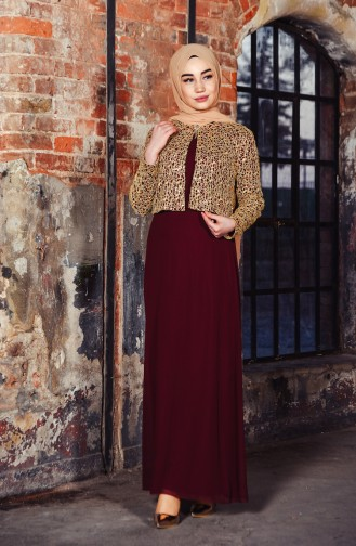 Sequin Jacketed Evening Dress 3707-02 Bordeaux 3707-02