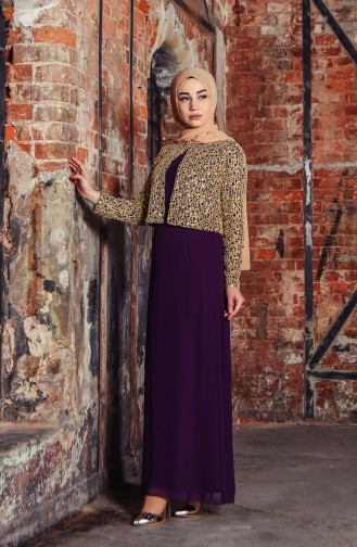 Sequin Jacketed Evening Dress 3707-03 Purple 3707-03