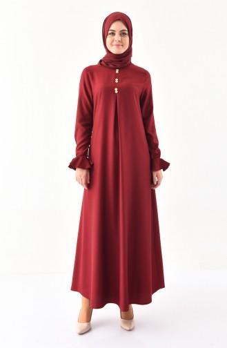 EFE Button Detailed Dress 9292-01 Claret Red 9292-01