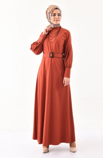فستان بتصميم حزام للخصر 2023-02 لون قرميدي 2023-02