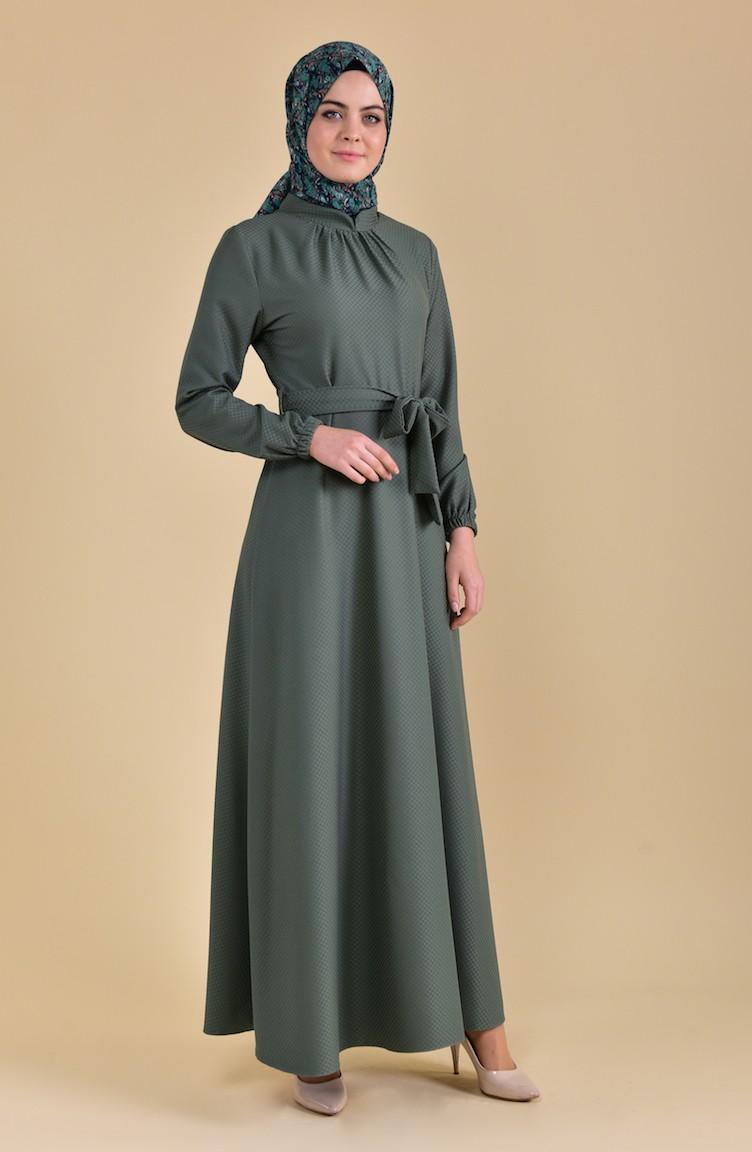 7091d8f9adc Collar Pleated Dress 8166A-04 Green 8166A-04