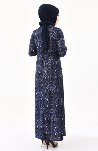 Desenli A Pile Elbise 4076-06 Lacivert Gri 4076-06