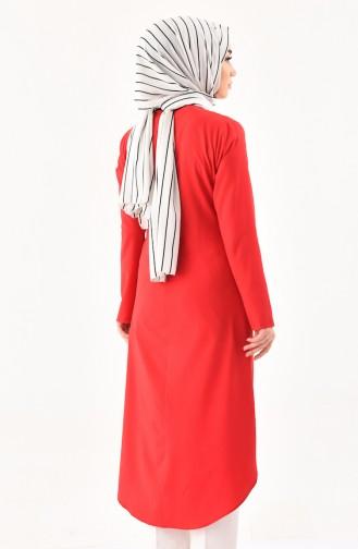 تونيك بتصميم مُزين بقلادة  3043-05 لون أحمر 3043-05