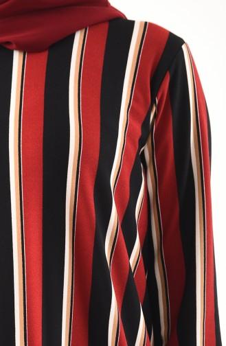 Çizgili Uzun Tunik 2702-02 Kırmızı