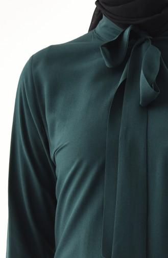 Kravat Yaka Tunik 3159-08 Zümrüt Yeşili