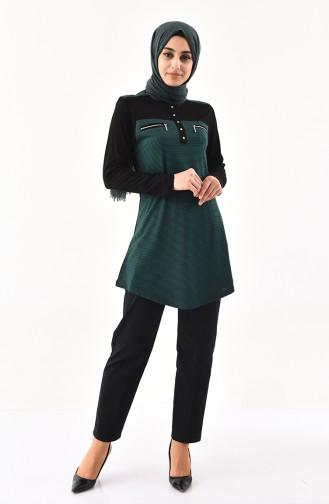 Zipper Detailed Cotton Tunic 4757-04 Black Emerald Green 4757-04