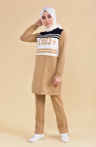 بي وست بدلة رياضية بتصميم مُطبع 8296-05 لون اصفر 8296-05