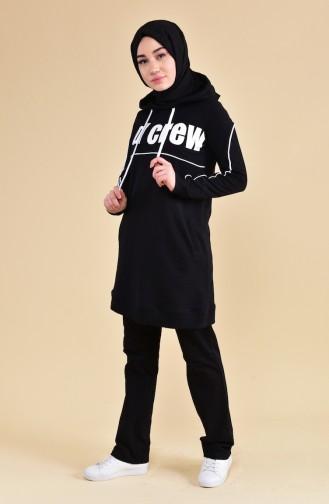 Kapüşonlu Eşofman Takım 8306-06 Siyah