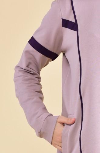 بي وست بدلة رياضية بتصميم مخطط 8374-07 لون ليلكي فاتح وبنفسجي 8374-07