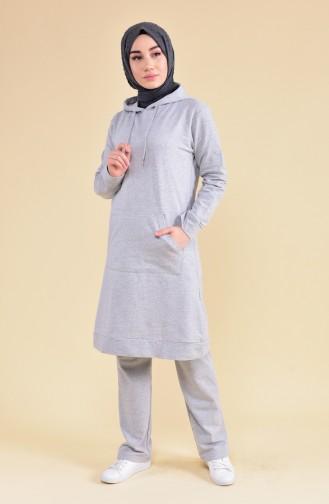 Hooded Tracksuit 18133-09 Gray Khaki 18133-09