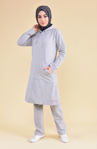 Hooded Tracksuit  18133-10 Gray Emerald Green 18133-10