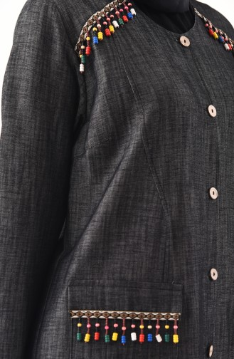 METEX Large Size Buttoned Jeans Topcoat 1146-01 Black 1146-01