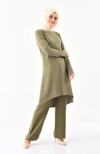 BURUN   Striped Tunic Trousers Double Suit 11179-02 Khaki 11179-02
