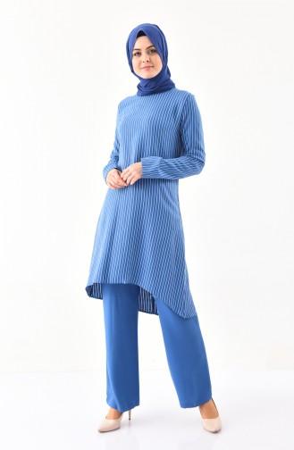 BURUN   Striped Tunic Trousers Double Suit 11179-03 İndigo 11179-03