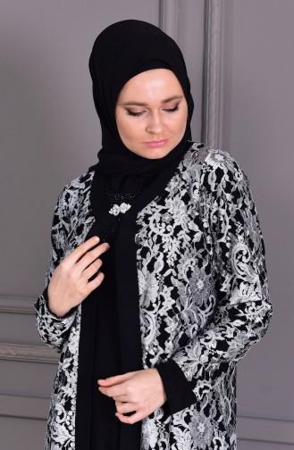 فساتين سهرة بتصميم اسلامي أسود 7000-04