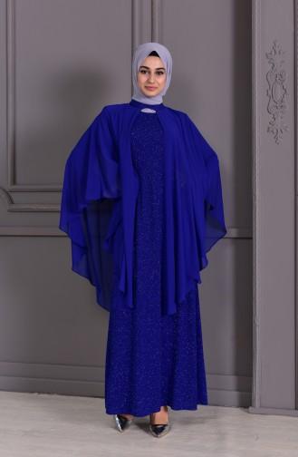 Büyük Beden Simli Abiye Elbise 1054-01 Saks