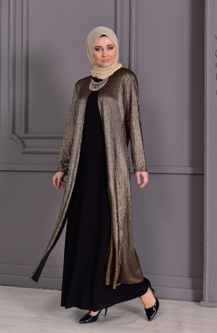 79a515160fefe Büyük Beden Takım Görünümlü Abiye Elbise 1060-05 Gold Siyah