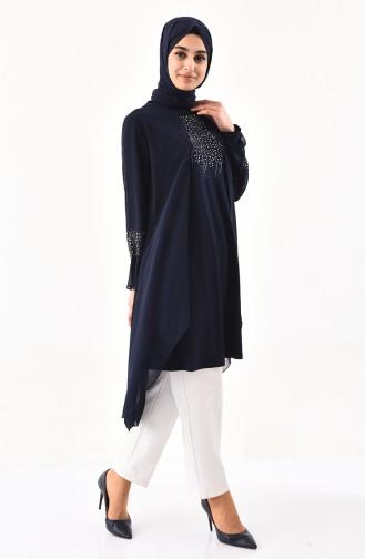 Dunkelblau Hijab-Abendkleider 1096-03