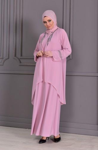Robe de Soirée Grande Taille 1101-01 Poudre 1101-01