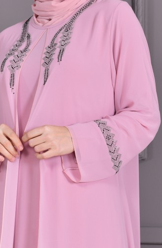 ميتيكس فستان سهرة بتصميم مُطبع بأحجار لامعة و بمقاسات كبيرة 1101-01 لون وردي 1101-01