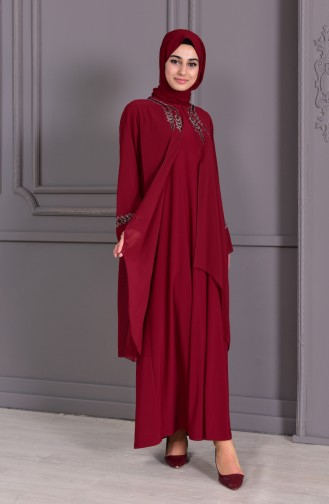 METEX Large Size Stone Printed Evening Dress 1101-03 Claret Red 1101-03