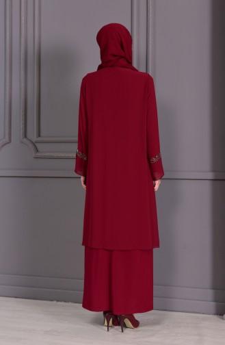 Büyük Beden Taş Baskılı Abiye Elbise 1102-01 Bordo 1102-01
