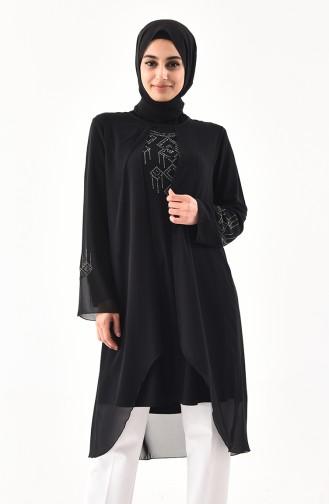 Büyük Beden Taş Baskılı Asimetrik Tunik 1108-04 Siyah