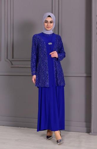 ميتيكس فستان سهرة بتصميم مُزين ببروش و بمقاسات كبيرة  1111-03 لون أزرق 1111-03
