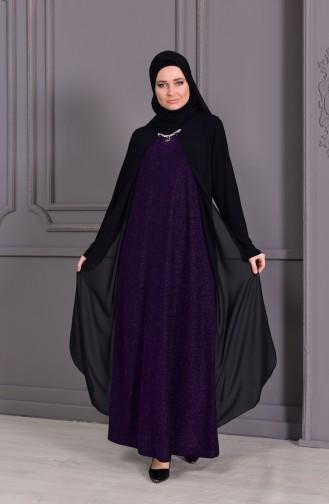 Büyük Beden Kolye Detaylı Simli Abiye Elbise 1116-02 Siyah Mor
