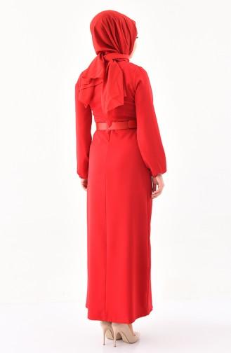Kemerli Elbise 2051-01 Kırmızı