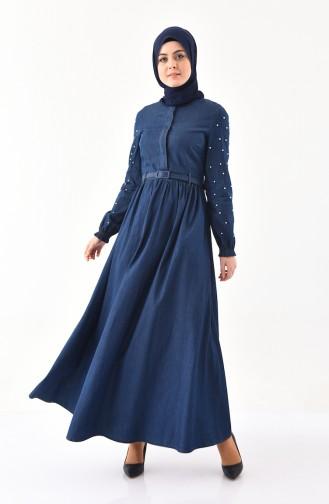 مس فالي فستان جينز بتصميم حزام للخصر 8993-01 لون كحلي 8993-01