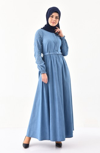 Kemerli Kot Elbise 8993-02 Kot Mavi