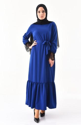 Dantel Detaylı Kuşaklı Elbise 1914-03 Saks 1914-03
