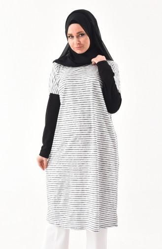 Çizgili Tunik 7519-01 Siyah Beyaz