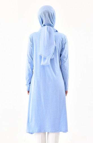 Polka Dot Asymmetric Tunic 7798-01 Blue 7798-01