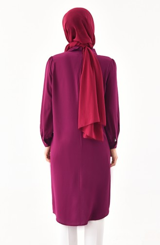 Large Size Pearls Detailed Tunic 5004-02 Plum 5004-02